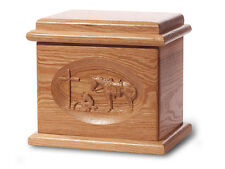 Wood Cremation Urn. Deluxe model with a Natural Finish with Praying Cowboy