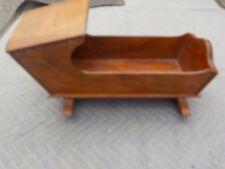 antique wood toy doll baby rocking crib cradle music box windup works primitive