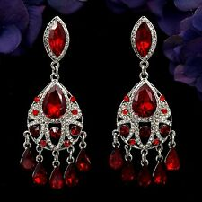 Rhodium Plated Red Ruby Crystal Rhinestone Chandelier Drop Dangle Earrings 07922