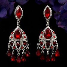 Rhodium Plated Red Ruby Crystal Rhinestone Chandelier Drop Dangle Earrings 07922