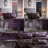 DAZZLE Sequin Duvet Cover/Quilt Cover Set Bed Linen Bedding Amethyst/Charcoal