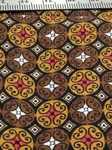 "Brown Geometric Print Cotton Fabric 1 Yd +14"" x 36"" W"