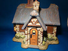 HOME INTERIORS HOMCO THOMAS KINKADE CERAMIC COTTAGE CANDLE HOLDER @4B