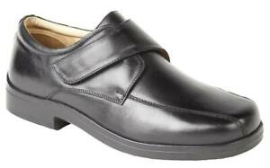 Wide Fitting Shoes Extra Wide Black Leather Touch Fastening Shoes