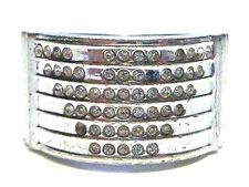 EMPORIO ARMANI STERLING SILVER CZ WOMENS CHUNKY HEAVY RING BAND SIZE 6.75-7
