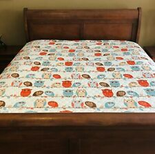 Colorful Cynthia Rowley Full Queen Whimsical Owls Quilt Coverlet Barely Used!