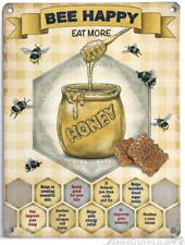 20cm metal vintage style 'Bee Happy Eat More Honey' Bee lover gift hanging sign
