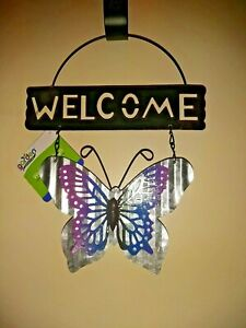 Hanging Decor Metal Welcome Sign Plaque With Blue Butterfly