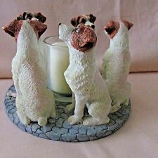 VOTIVE CANDLE HOLDER 5 JACK RUSSEL PUPPY DOG ON BASE WITH CANDLE DATED 2002-