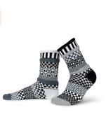 Eco-friendly Mismatched Crew Socks Unisex Black and White Pattern Cotton Blend