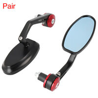 """Pair Universal Motorcycle for 7/8"""" 22mm Handle Bar End Rearview Mirrors Red"""