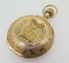 RARE c.1900 WALTHAM 14k TRI GOLD GNTS STAGS HEAD POCKET WATCH GRADE 87 SIZE 18s