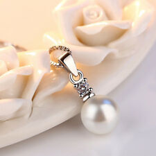 Real 925 Silver Crystal 8MM Pearl Pendant Chain Necklace Women Retro Jewelry