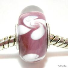 PURPLE WITH WHITE FLOWERS Silver Plated Murano Glass European Charm Bead