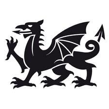 Welsh Cymru Dragon Car Van Bumper Wall Fridge Vinyl Decal Souvenir Sticker Black