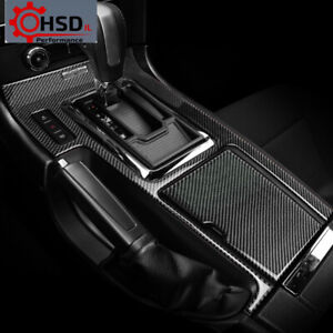 Carbon Fiber Center Console Gear Shift Box Panel Cover For Ford Mustang 2009-13