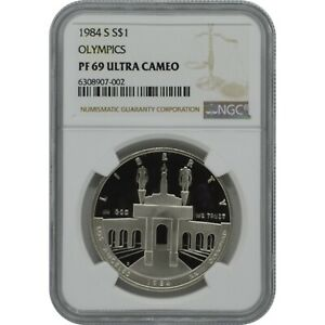 1984 S Olympics Commemorative Proof Silver one Dollar NGC PF69 Ultra Cameo