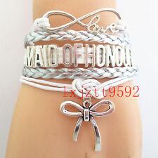 Infinity Love bracelet MAID OF HONOUR Bracelets silver white wedding Friendship