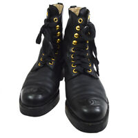 CHANEL CC Logos Medium Boots Shoes Black Leather #34 1/2 C 735 1370 O02993