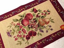 NEW Apple Fruit Floral Table Runner Burgundy French Italian Style Rug Mat