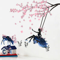 Fairy Pink Flower Tree Branch Vinyl Wall Stickers Kids Decals Nursery Decor Art