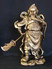"""10"""" Golden Standing Guan Gong Holding Guan Dao Statue"""