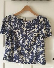 Lovely HOBBS Blue/Ivory Cap-Sleeve Shell Top/ Blouse. Silk-Wool Blend UK12. VGC!