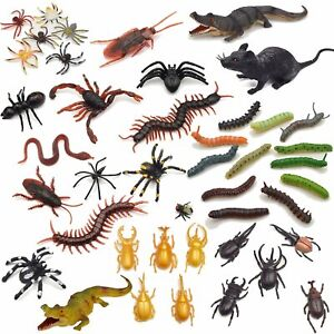 10 Pcs Fake spider Fly ant snake cockroach Plastic Insect Bugs mischief kids Toy