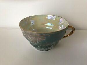 Green Czechoslovakia Iridescent/Lustre Green/Cream Tea Cup