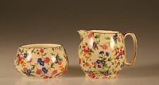 Royal Winton Old Cottage Chintz Countess Creamer and Open Sugar Set, c. 1960