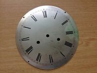 Antique Clock Dial Silvered Engraved Thick Convex Brass 180mm Diameter