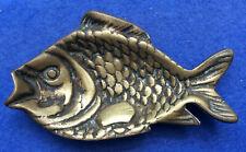 Vintage fish-shaped brass ashtray