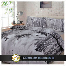 Wolf Single Duvet Quilt Cover & Pillowcase Bed Set Snow Wolf Forest Animal Print