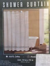 Luciaua Collection Shower Curtain 100% cotton 72 x 72 inches Embroidered