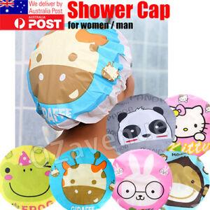 Women Cartoon Animal Shower Bath Cap Waterproof PVC Adults Kids Bathing QQ