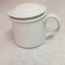 """Dansk Creamer With Lid Cafe Blanc Pattern White 3 1/2"""" Tall Made In Portugal"""