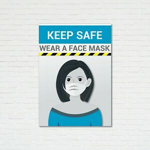 KEEP SAFE WEAR FACE MASK WATERPROOF POSTERS 2 X DESIGNS SAME DAY DISPATCH