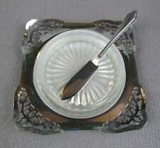 Superb vintage Silver Plated Butter / Caviar Dish with Glass Insert & Knife.
