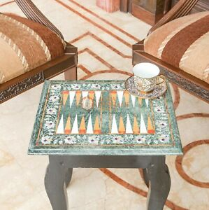 Green Marble Top Backgammon Table Top Inlaid Multi Stone Mosaic Art Interior Dec