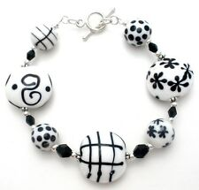 Sterling Silver Black & White Bead Bracelet Art Glass Fashion Jewelry Polka Dot
