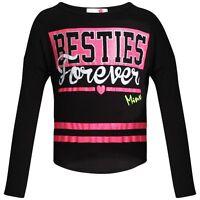Girls New Besties Forever Black Long Sleeved Top By Minx Ages 7Y-13Y
