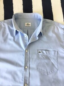Mens Lacoste Light Blue 'Oxford' Shirt In Size 44, XL/XXL