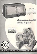 PUBBLICITA' 1952 RADIO CGE MOD.4110 11 VALVOLE RICEVITORE PROGRAMMI MUSICA