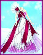 Pink & silver Bob Mackie Barbie gown fits Model Muse Royalty Silkstone complete