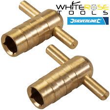 Silverline Radiator Bleed Key Solid Brass Plumbing Heating Venting 2pc