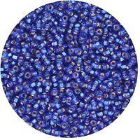 Czech Glass Seed Beads Size 10/0 Dark Blue Silver Lined