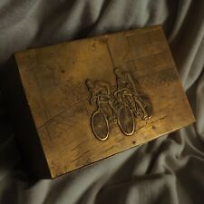 Antique 1920 Bicycle Bike Race Sport Award Vienna Bronze Wood Jewelry Box Medal