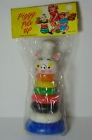 New In Package Old Vintage 1960s PIG PIGGY PILE UP RING STACKING BABY KIDS TOY