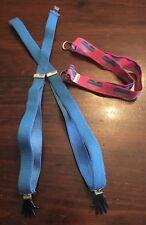 Vintage 1980s elastic blue suspenders hand clips & pink/blue hearts belt adjusta