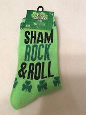 St. Patrick's Day Crew Socks Ladies Sham Rock & Roll Green